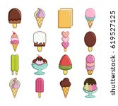 ice cream icons set sweet.... | Shutterstock .eps vector #619527125