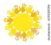 hand print sun. kids palm... | Shutterstock .eps vector #619539296
