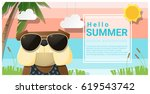 hello summer background with...   Shutterstock .eps vector #619543742
