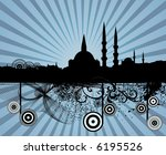 retro grunge mosque silhouette... | Shutterstock .eps vector #6195526