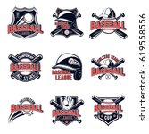 vector set of baseball logos... | Shutterstock .eps vector #619558556