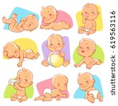 set with cute little baby in... | Shutterstock .eps vector #619563116
