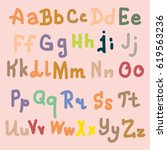 hand drawn alphabet. brush... | Shutterstock .eps vector #619563236
