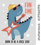 dinosaur and rock and star... | Shutterstock .eps vector #619566596