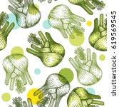 fennel bulb seamless pattern.... | Shutterstock .eps vector #619569545
