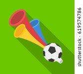 trumpet football fan.fans... | Shutterstock .eps vector #619574786