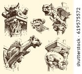 Set Of Gargoyles Chimera Of...