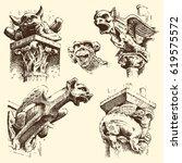 Set Of Gargoyles Chimera Of...