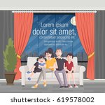 happy cartoon family on sofa in ... | Shutterstock .eps vector #619578002