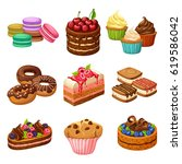 cartoon sweet products elements ... | Shutterstock .eps vector #619586042