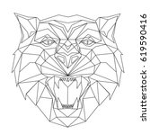 tiger stylized triangle... | Shutterstock .eps vector #619590416