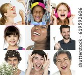 collage of people smiling... | Shutterstock . vector #619592606
