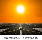 airport runway with modern... | Shutterstock . vector #619596515