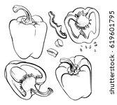 bell pepper  paprika.... | Shutterstock .eps vector #619601795
