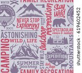 typographic vector mountain and ... | Shutterstock .eps vector #619602452