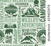 typographic vector mountain and ... | Shutterstock .eps vector #619602476