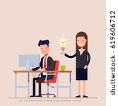 employee helps with the idea of ...   Shutterstock .eps vector #619606712