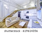 classic interior design duplex...   Shutterstock . vector #619614356