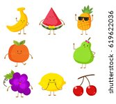 cute and funny fruit set.... | Shutterstock .eps vector #619622036