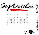 vector calendar for september... | Shutterstock .eps vector #619625642