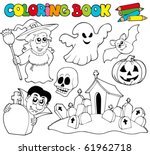 coloring book with halloween... | Shutterstock .eps vector #61962718