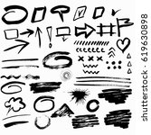 set of hand drawn textures and... | Shutterstock .eps vector #619630898