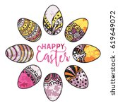 happy easter watercolor round... | Shutterstock .eps vector #619649072