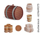 wooden barrel vintage old style ... | Shutterstock .eps vector #619649375