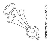 trumpet football fan.fans...   Shutterstock .eps vector #619655072