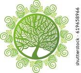 beautiful green tree. vector... | Shutterstock .eps vector #619658966