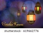 ramadan lantern with blur...   Shutterstock .eps vector #619662776