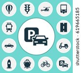 transport icons set. collection ...   Shutterstock .eps vector #619665185