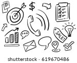 sketchy business icons vector... | Shutterstock .eps vector #619670486