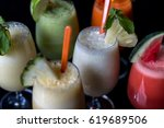 mix smoothies  pineapple... | Shutterstock . vector #619689506