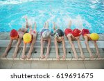 happy children kids group at... | Shutterstock . vector #619691675