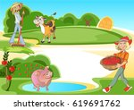 cartoon image of two cheerful... | Shutterstock .eps vector #619691762