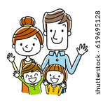 4 people with a smile family | Shutterstock .eps vector #619695128