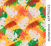 seamless pattern with palm tree ... | Shutterstock .eps vector #619701212