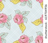 seamless floral pattern with... | Shutterstock .eps vector #619704956