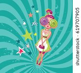 fashion disco girl with... | Shutterstock .eps vector #619707905