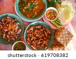 food set with spicy  local thai ... | Shutterstock . vector #619708382