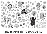 outline drawing of cartoon... | Shutterstock .eps vector #619710692