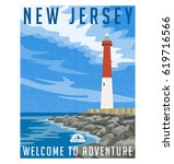 new jersey travel poster or... | Shutterstock .eps vector #619716566