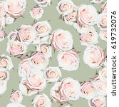 roses pattern gently pink green ... | Shutterstock . vector #619732076