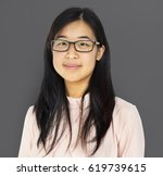 young adult asian girl smiling... | Shutterstock . vector #619739615