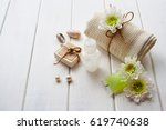 spa collection with chamomiles | Shutterstock . vector #619740638