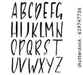 hand drawn dry brush font.... | Shutterstock .eps vector #619747736