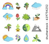 nature icons set symbols.... | Shutterstock .eps vector #619754252