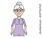 old woman with hairstyle and... | Shutterstock .eps vector #619754765