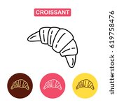croissant vector linear icon... | Shutterstock .eps vector #619758476